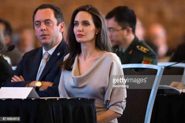 Actress Angelina Jolie special envoy to the United Nations High Commissioner for Refugees listens during the 2017 UN Peacekeeping Defence Ministerial...