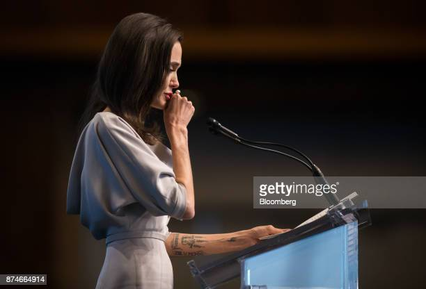 Actress Angelina Jolie special envoy to the United Nations High Commissioner for Refugees pauses while delivering a keynote speech during the 2017 UN...