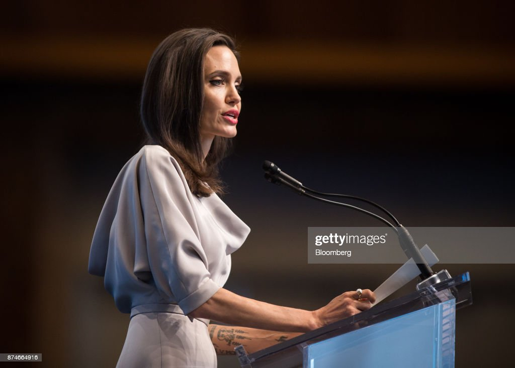 Actress Angelina Jolie, special envoy to the United Nations High Commissioner for Refugees, delivers a keynote speech during the 2017 UN Peacekeeping Defence Ministerial conference in Vancouver, British Columbia, Canada, on Wednesday, Nov. 15, 2017. Over 500 delegates from more than 70 countries and international organizations will gather at the upcoming Defence Ministerial to discuss improvements to UN peacekeeping operations and focus on securing new pledges from Member States. Photographer: Ben Nelms/Bloomberg via Getty Images