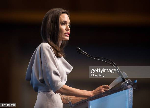 Actress Angelina Jolie special envoy to the United Nations High Commissioner for Refugees delivers a keynote speech during the 2017 UN Peacekeeping...