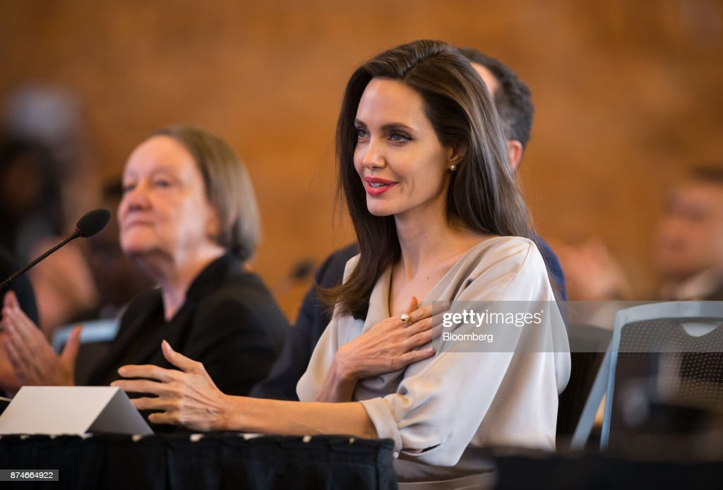 Actress Angelina Jolie, special envoy to the United Nations High Commissioner for Refugees, speaks during the 2017 UN Peacekeeping Defence Ministerial conference in Vancouver, British Columbia, Canada, on Wednesday, Nov. 15, 2017. Over 500 delegates from more than 70 countries and international organizations will gather at the upcoming Defence Ministerial to discuss improvements to UN peacekeeping operations and focus on securing new pledges from Member States. Photographer: Ben Nelms/Bloomberg via Getty Images