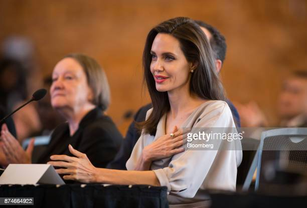 Actress Angelina Jolie special envoy to the United Nations High Commissioner for Refugees speaks during the 2017 UN Peacekeeping Defence Ministerial...