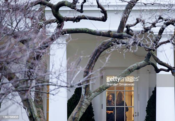 Actress Angelina Jolie stands in the Oval Office of the White House January 11 2012 in Washington DC Angelina Jolie was in Washington to attend the...
