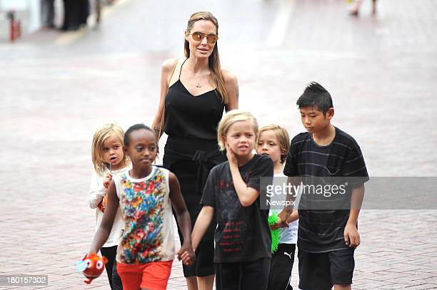 Actress Angelina Jolie takes her children Pax Zahara Shiloh Vivienne and Knox to visit Sydney Aquarium Darling Harbour on September 8 2013 in Sydney...