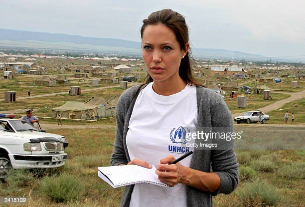 Actress Angelina Jolie visits Bella refugee camp August 22 2003 in Ingushetia near the Chechen border in Russia's North Caucasus region Jolie a...