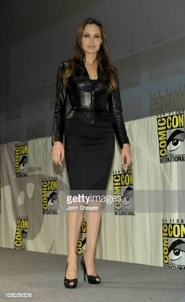 Actress Angelina Jolie walks onstage at the Salt panel during ComicCon 2010 at San Diego Convention Center on July 22 2010 in San Diego California