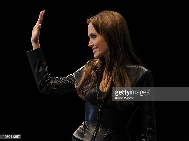 Actress Angelina Jolie walks onstage at the 'Salt' panel during ComicCon 2010 at San Diego Convention Center on July 22 2010 in San Diego California