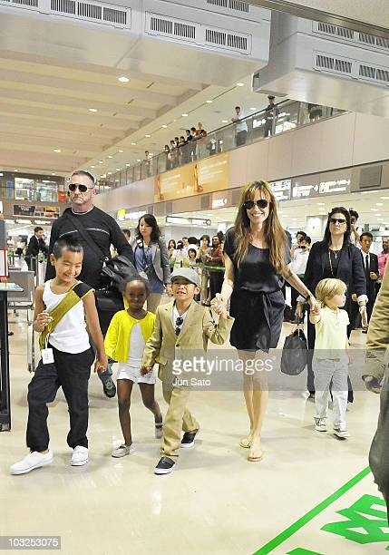 Actress Angelina Jolie with her children Maddox Pax Zahara Shiloh are seen at Narita International Airport on July 26 2010 in Narita Japan