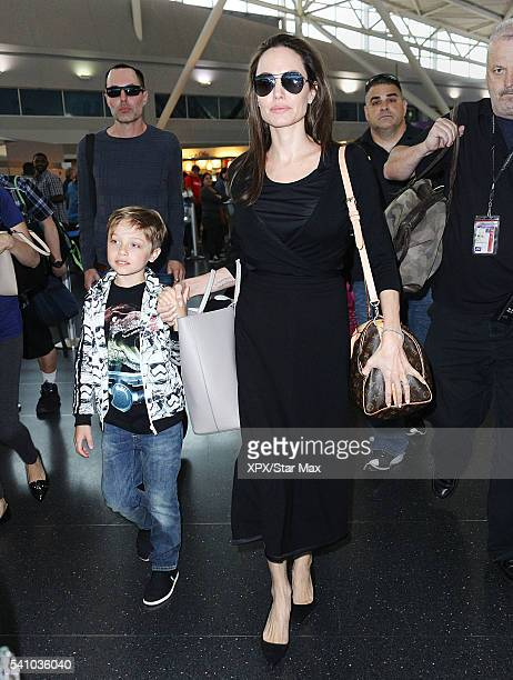 Actress Angelina Jolie with her son Knox JoliePitt and her brother James Haven are seen on June 17 2016 in New York City