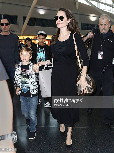 Actress Angelina Jolie with her sons Knox JoliePitt and Maddox JoliePitt and her brother James Haven are seen on June 17 2016 in New York City