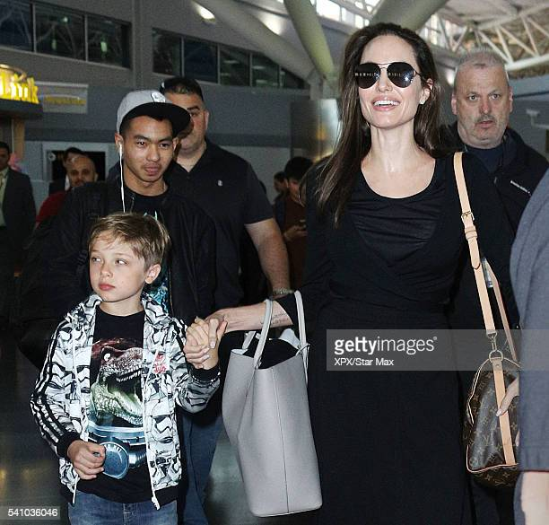 Actress Angelina Jolie with her sons Knox JoliePitt and Maddox JoliePitt are seen on June 17 2016 in New York City
