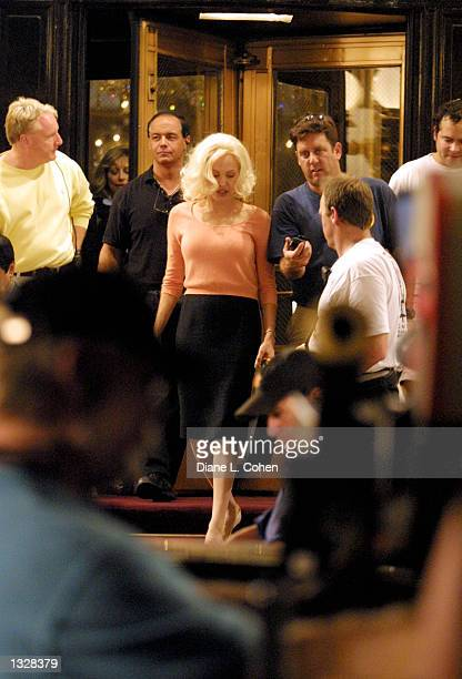Actress Angelina Jolie works on the set of the movie 'Life or Something Like It' June 28 2001 in front of the Plaza Hotel in New York City