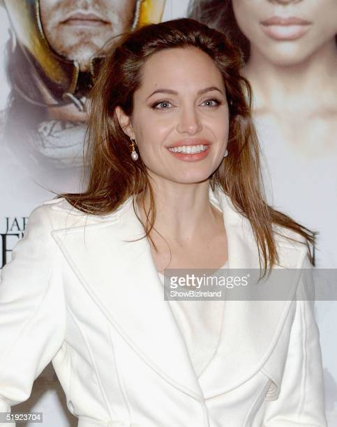 Actress Angelina Jolies arrives at the afterparty for Alexander the Great on January 6 2005 in Dublin Ireland