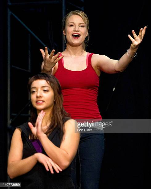 Actress Angelina Prendergast and Actress Clara Gabrielle attend the 'Innocent Flesh' cast photo call at the Actors Temple Theatre on March 6 2012 in...