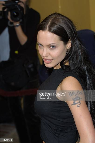 Actress Angelinaa Jolie arrives at the world premiere of the film 'Lara Croft Tomb Raider' June 11 2001 in Westwood CA