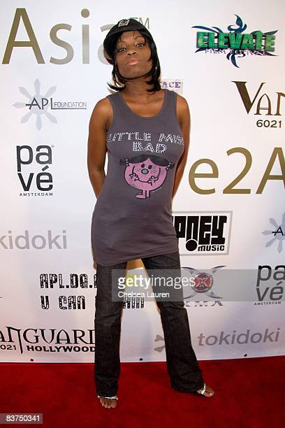 Actress Angelique Bates arrives at the Black Eyed Peas' Apl Foundation Launch Party at the Vanguard on November 18 2008 in Hollywood California