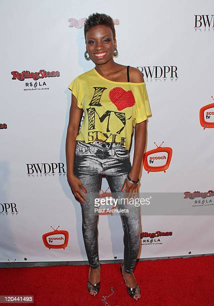 Actress Angelique Bates arrives at the Rolling Stone Chinese Laundry fashion music event at Rolling Stone Restaurant Lounge on August 5 2011 in Los...