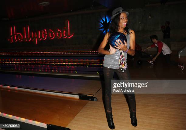 Actress Angelique Bates attends the 'Unlikely Heroes' bowling luncheon at Lucky Strike Bowling Alley on November 16 2013 in Hollywood California
