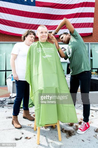 Actress Angelique Bates shaves a head at the St Baldrick's Foundation Celebrity Event on March 24 2018 in North Hollywood California