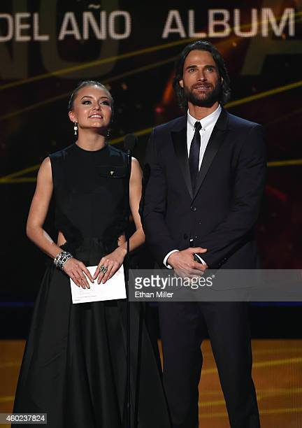 Actress Angelique Boyer and actor Sebastian Rulli speak during the 15th annual Latin GRAMMY Awards at the MGM Grand Garden Arena on November 20 2014...