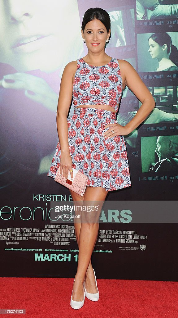 Actress Angelique Cabral arrives at the Los Angeles premiere 'Veronica Mars' at TCL Chinese Theatre on March 12, 2014 in Hollywood, California.