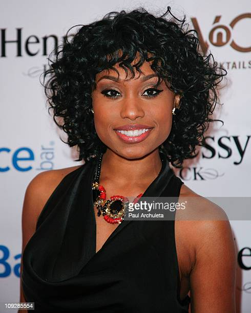 Actress Angell Conwell arrives at the athletes versus cancer foundation AllStar Fashion Nite TipOff Celebration at Boulevard3 on February 17 2011 in...