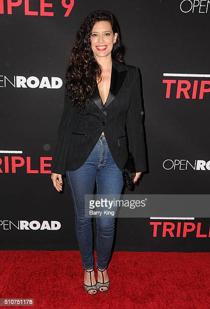 Actress Angie Cepeda attends the Premiere of Open Road's 'Triple 9' at Regal Cinemas LA Live on February 16 2016 in Los Angeles California