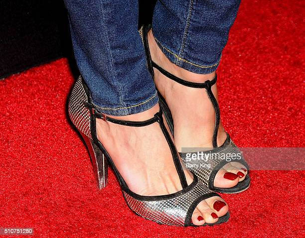 Actress Angie Cepeda shoe detail attends the Premiere of Open Road's 'Triple 9' at Regal Cinemas LA Live on February 16 2016 in Los Angeles California