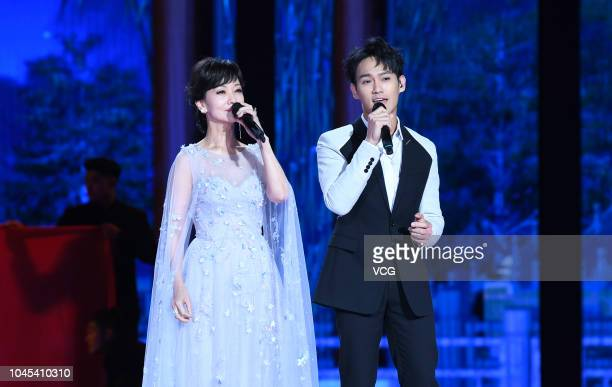 Actress Angie Chiu and actor Wesley Wong perform onstage during the 2018 CCTV MidAutumn Festival gala at Mount Ni on September 24 2018 in Jining...