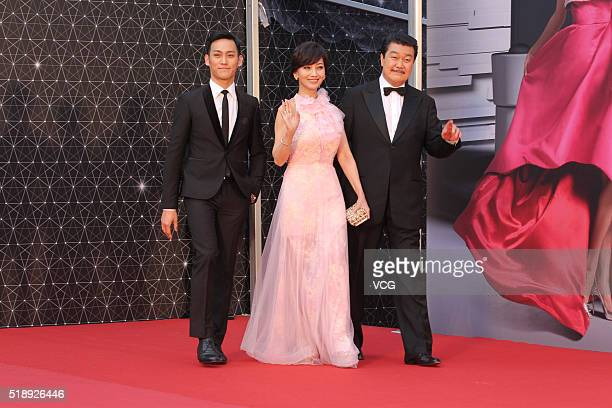 Actress Angie Chiu and her husband Melvin Wong and son Wesley Wong arrive at the red carpet of the 35th Hong Kong Film Awards on April 3 2016 in Hong...