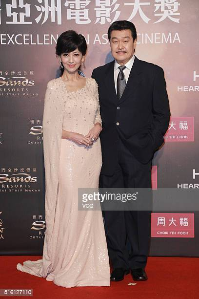 Actress Angie Chiu and her husband Melvin Wong attend the 10th Asian Film Awards at the Venetian Theatre on March 17 2016 in Macau China