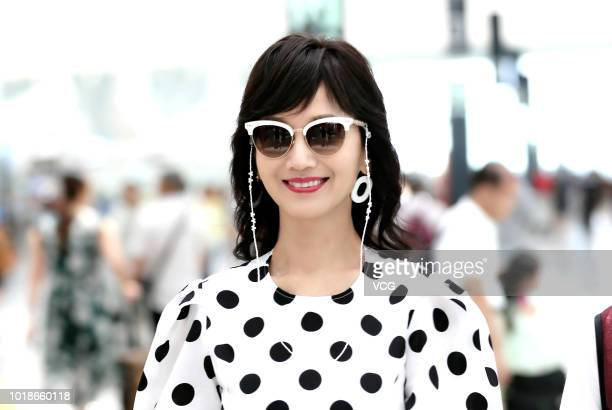 Actress Angie Chiu arrives at airport on August 6 2018 in Shenzhen Guangdong Province of China