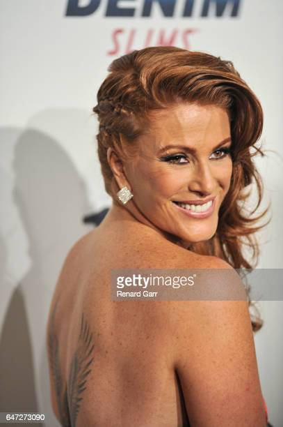 Actress Angie Everhardt arrives for the Norby Walters' 27th Annual Night Of 100 Stars black tie dinner viewing gala held at The Beverly Hilton Hotel...