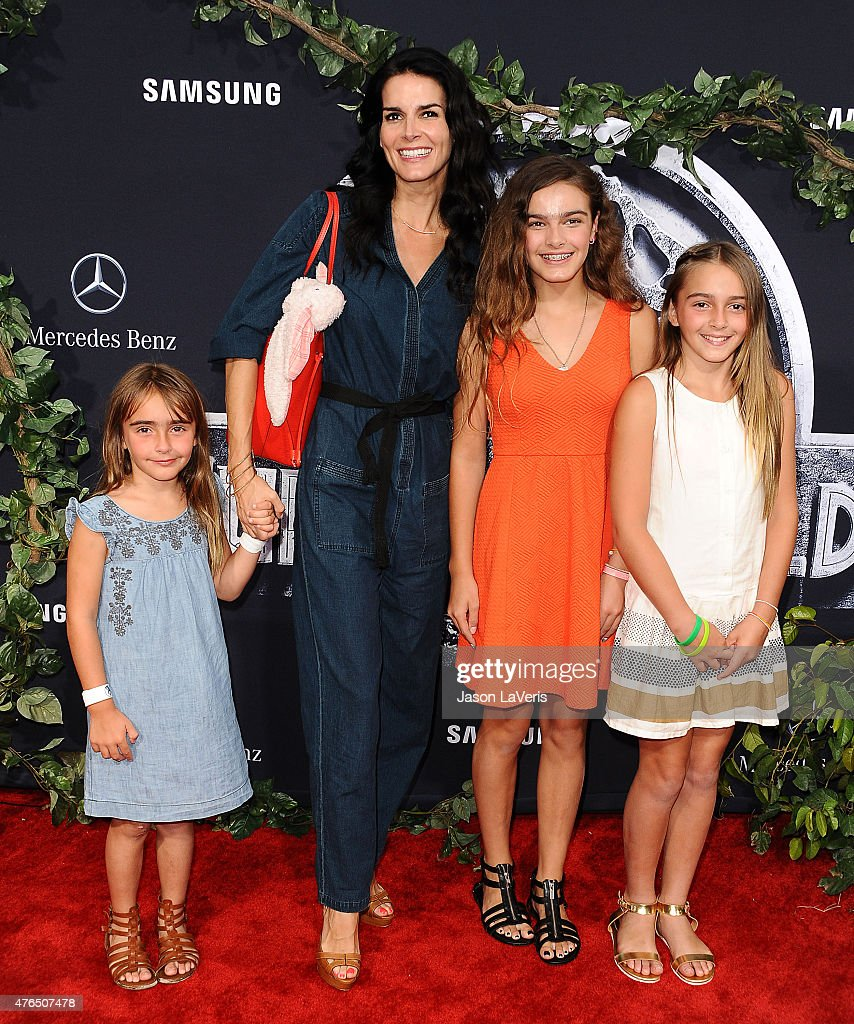 Actress Angie Harmon and children attend the premiere of 'Jurassic World' at Dolby Theatre on June 9, 2015 in Hollywood, California.