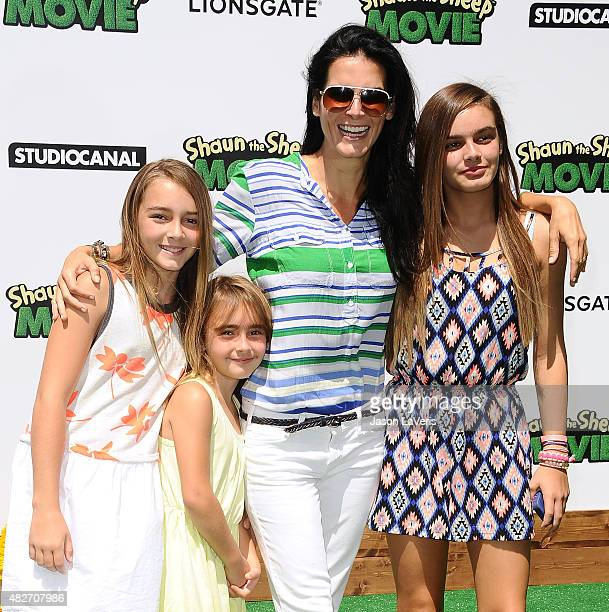 Actress Angie Harmon and daughters Emery Hope Sehorn Avery Grace Sehorn and Finley Faith Sehorn attend a screening of Lionsgate's 'Shaun the Sheep...