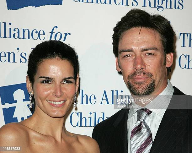 Actress Angie Harmon and Jason Sehorn attends The Alliance for Children's Rights Awards Gala at the Beverly Hilton Hotel on March 10 2008 in Beverly...