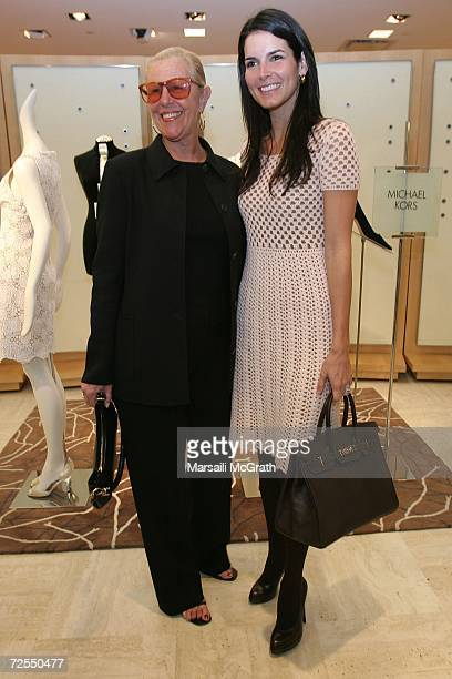Actress Angie Harmon and Michael Kors' mother Joan Kors attend the Michael Kors instore appearance and fashion show at Nieman Marcus on November 14...