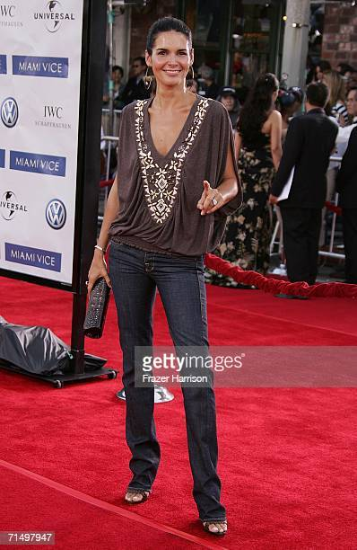 Actress Angie Harmon arrives at the Universal Pictures premiere of Miami Vice held at the Mann's Village Theatre on July 20 2006 in Westwood...