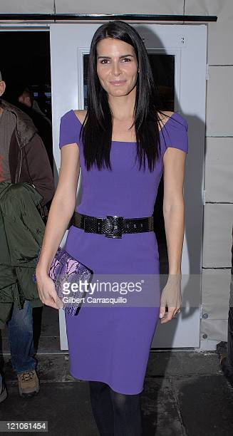 Actress Angie Harmon attends MercedesBenz Fashion Week Fall 2008 in Bryant Park on February 6 2008 in New York City