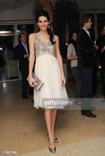 Actress Angie Harmon attends the LEIBER 45TH Anniversary Celebration with Swarovksi at the Sunset Tower Hotel on February 21 2008 in Los Angeles...