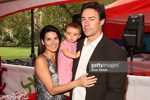 Actress Angie Harmon her daughter Emery Hope Sehorn and husband Jason Sehorn attend Huggies Little Movers Adventure Zone And Live Auction at Madison...