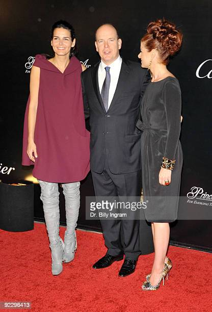 Actress Angie Harmon HSH Prince Albert and actress Debra Messing arrive at the celebration of the City of Beverly Hills Rodeo Drive Committee to...