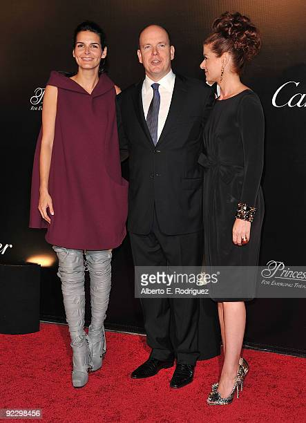 Actress Angie Harmon Prince Albert II of Monaco and actress Debra Messing arrive at the Rodeo Drive Walk of Style Award honoring Princess Grace of...