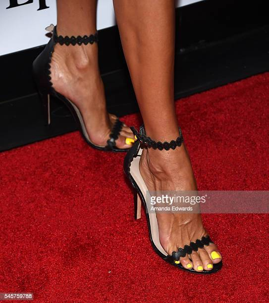 Actress Angie Harmon shoe detail arrives at the 100 Episode Celebration of TNT's 'Rizzoli and Isles' at Cicada on July 9 2016 in Los Angeles...