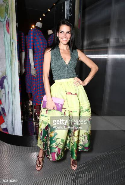 Actress Angie Harmon wearing Prada attends the Los Angeles screening of Trembled Blossoms presented by Prada on March 19 2008 in Beverly Hills...