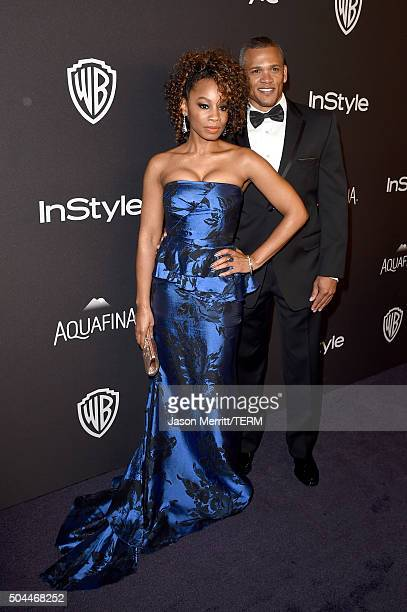 Actress Anika Noni Rose and guest attend The 2016 InStyle And Warner Bros. 73rd Annual Golden Globe Awards Post-Party at The Beverly Hilton Hotel on...
