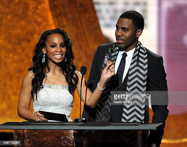 Actress Anika Noni Rose and singer Jason Derulo speak onstage at the 42nd NAACP Image Awards held at The Shrine Auditorium on March 4, 2011 in Los...