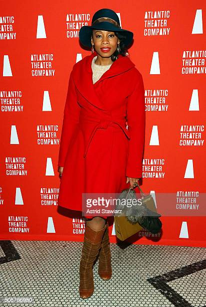 "Actress Anika Noni Rose attends ""Skeleton Crew"" Opening Night Curtain Call & After Party at Jake's Saloon on January 19, 2016 in New York City."
