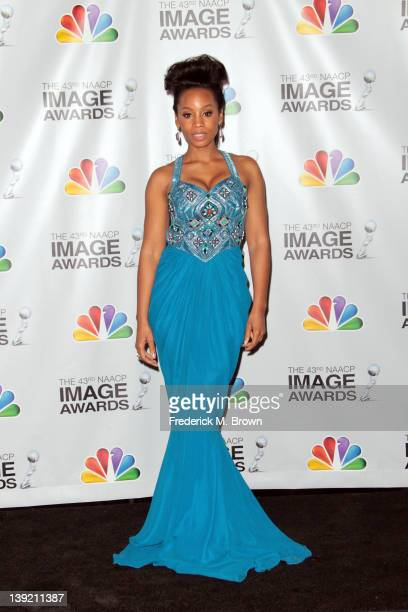 Actress Anika Noni Rose poses in the press room at the 43rd NAACP Image Awards held at The Shrine Auditorium on February 17 2012 in Los Angeles...