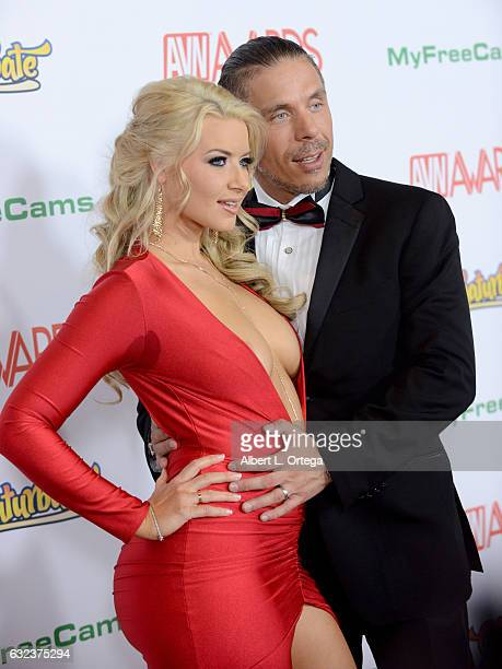 Actress Anikka Albrite and actor Mick Blue arrive at the 2017 Adult Video News Awards held at the Hard Rock Hotel Casino on January 21 2017 in Las...